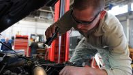 WHITEMAN AIR FORCE BASE, Mo -- Senior Airman Eduardo Swizer, 509th Logistics Readiness Squadron vehicle mechanic, troubleshoots a wiring harness during a vehicle inspection, Nov. 2. The vehicle maintenance shop performs major maintenance to include transmissions overhauls, engines overhauls and power trains overhauls. (U.S. Air Force photo/Airman 1st Class Bryan Crane)(Released)